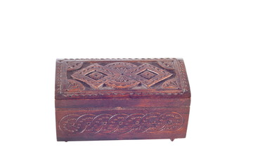 a wooden box for female ornaments and jewelry
