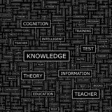 KNOWLEDGE. Word cloud concept illustration.   poster