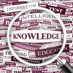KNOWLEDGE. Word cloud concept illustration.