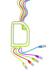 document symbol with colourful network cable