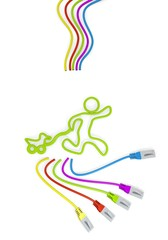 play icon with colourful network cable