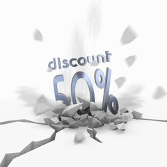 3d render of a dynamic discount symbol fallen from sky