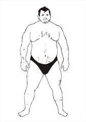 chubby man nude sketch vector