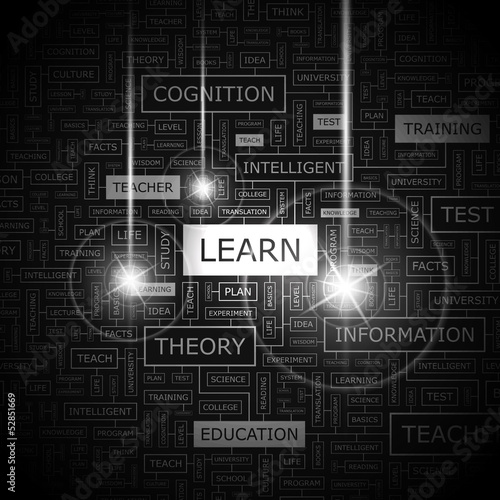 LEARN. Word cloud concept illustration.