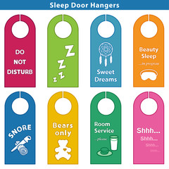 Sleep Bedroom Door Hangers, 8 styles, Brights