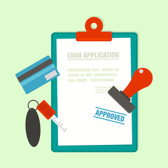 Approved Mortgage loan application with car key