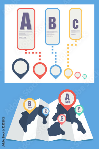 map and pin icon infographics