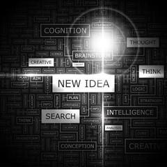 NEW IDEA. Word cloud concept illustration.