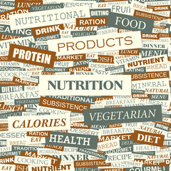 NUTRITION. Word cloud concept illustration.