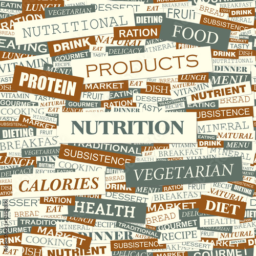 Sticker NUTRITION. Word cloud concept illustration.