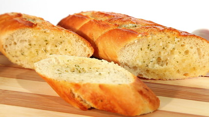 Fresh baked garlic bread with herbs