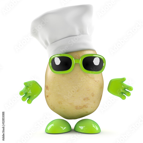 3d Potato man cooks a great meal