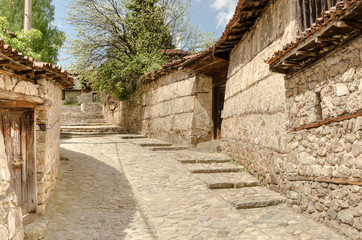 A traditional old street in Koprivshtitsa Bulgaria