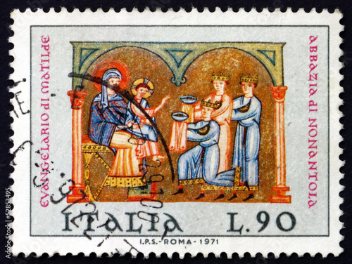 Poster Postage stamp Italy 1971 Adoration of the Kings, Christmas