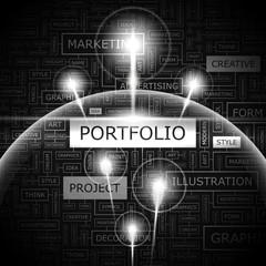 PORTFOLIO. Word cloud concept illustration.