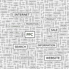 PPC. Word cloud concept illustration.