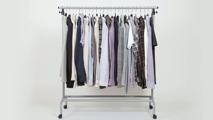 Time lapse of clothes on rack