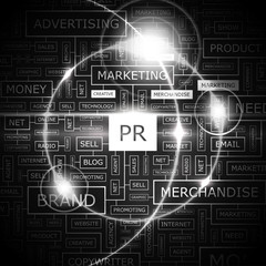 PR. Word cloud concept illustration.