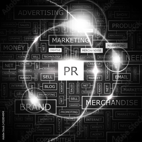 PR. Word cloud concept illustration.
