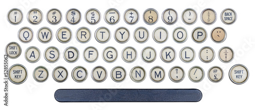 Old typewriter keys isolated