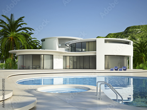 canvas print picture Villa 4 mit Pool