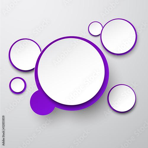 Paper white-violet round speech bubbles.