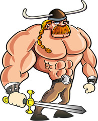 Viking cartoon with a big sword and blond hair in a ponytail.