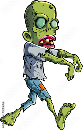 Cartoon stalking zombie writ ripped clothes. Isolated on white