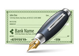 Vector illustration of blank bank check and fountain pen