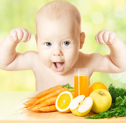 strong and healthy baby fresh fruit meal and juice glass