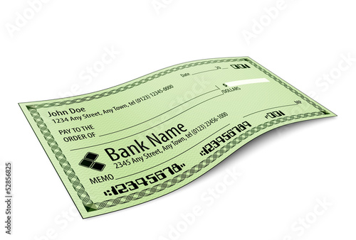 Vector illustration of blank bank check with shadow on white bac