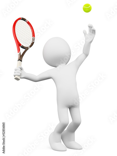 3D white people. Tennis player serving
