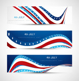 4th july  independence day three header set Vector illustration