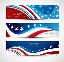 independence day background three header set Vector