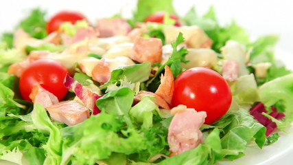 Fresh vegetable salad with smoked chicken
