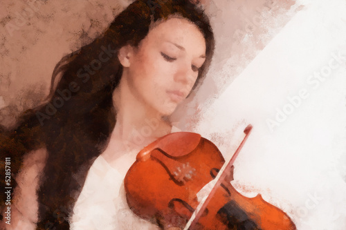 Portrait of a young female playing the violin, drawn oil paints.