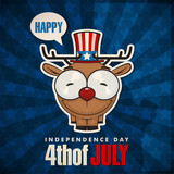 Happy 4th of July sticker card with cartoon deer. Vector illustr