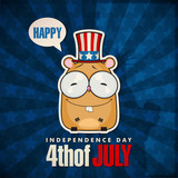 Happy 4th of July sticker card with cartoon hamster. Vector illu
