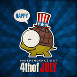 Happy 4th of July sticker card with cartoon turtle. Vector illus