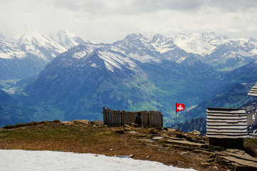 Swiss flag on the top
