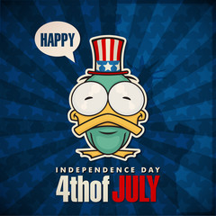 Happy 4th of July sticker card with cartoon duck. Vector illustr