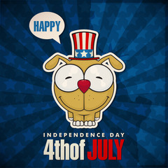 Happy 4th of July sticker card with cartoon dog. Vector illustra