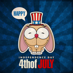 Happy 4th of July sticker card with cartoon rabbit. Vector illus