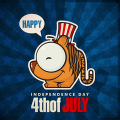 Happy 4th of July sticker card with cartoon tiger. Vector illust