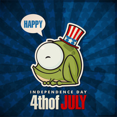 Happy 4th of July sticker card with cartoon frog. Vector illustr