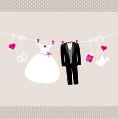 Wedding Symbols Hanging Retro Beige/Pink Dots