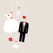 Hanging Wedding Symbols Retro Beige/Red