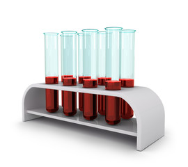 medical test-tube with blood samples, isolated, 3d