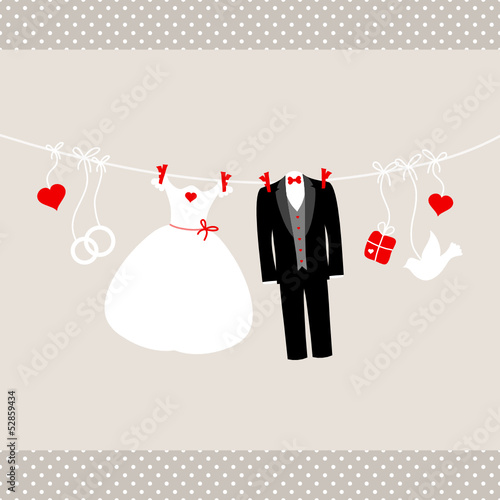 Wedding Symbols Hanging Retro Beige/Red Dots