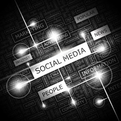 SOCIAL MEDIA. Word cloud concept illustration.